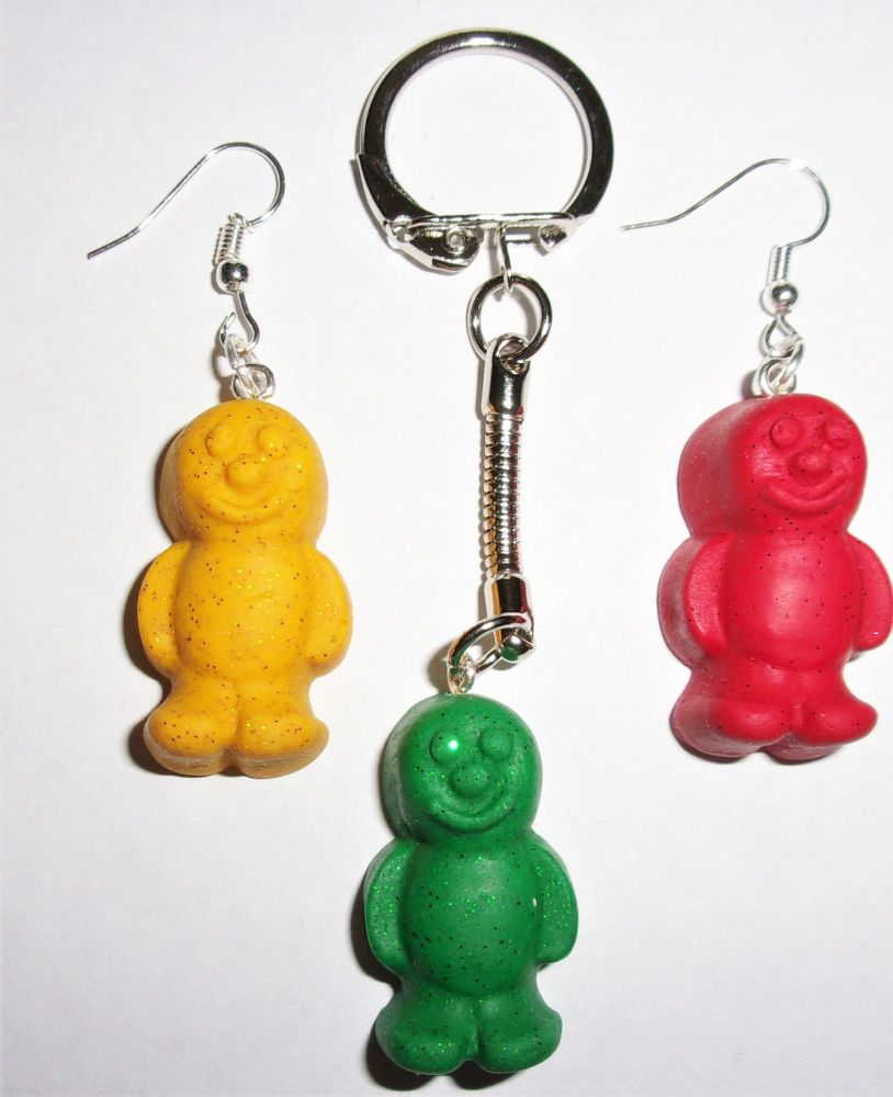 Glitter Jelly Baby Mix And Match Earring And Keyring Gift Set