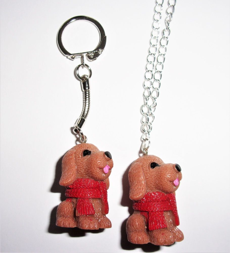 Dog With A Scarf Keyring And Necklace Gift Set