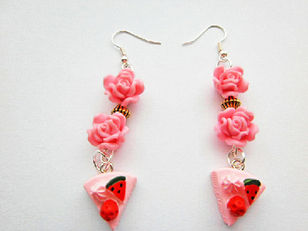 Pink Strawberry Cake Rose Earrings