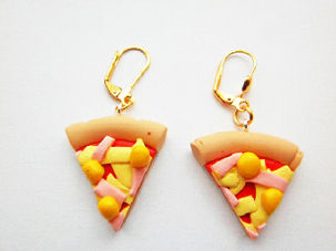 Cheese And Ham Slice Earrings