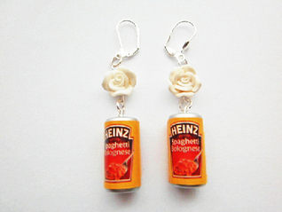 White Rose Spaghetti Bolognese Earrings