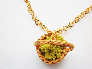 White Grapes In A Basket Necklace