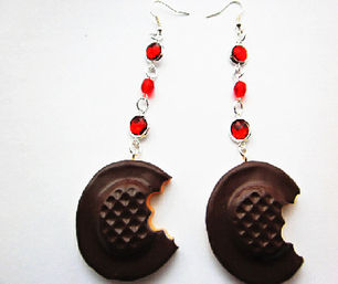 Half Eaten Chocolate Biscuit Ruby Gemstone Earrings