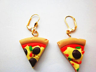 Meat And Cheese Pizza Slice Earrings