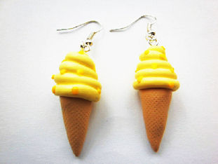 Yellow Ice-Cream Cone Earrings