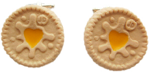 Lemon Jammie Dodger Biscuit  Cufflinks