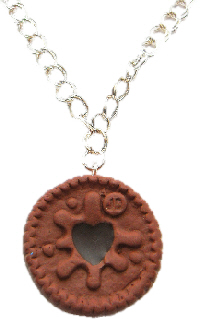 Chocolate Jammie Dodger Biscuit Necklace