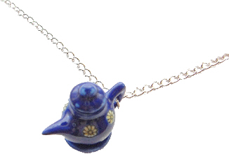 Miniature Blue Flower Tea Pot Necklace
