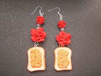 Mini Baked Beads On Toast Flower Earrings