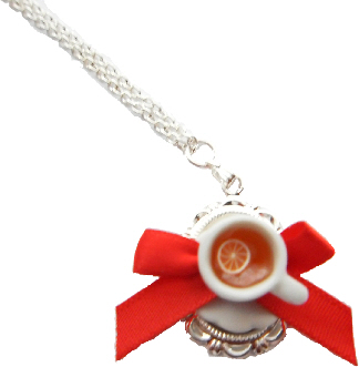 Lemon Red Bow Tea Cup Necklace