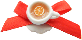 Lemon Red Bow Tea Cup Ring
