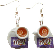 Lemon And M&M Sweet Tea Cup Earrings