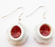 Raspberry Tea Cup Earrings