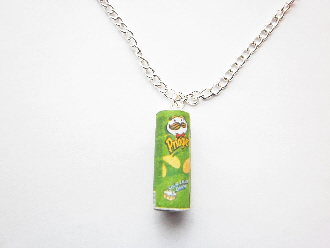 Miniature handmade sour cream and onion pringlers necklace