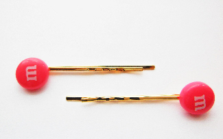 Kitsch Style Pink M&M Hair Grips