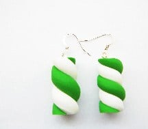 Green Mashmellow Candy Sweet Earrings
