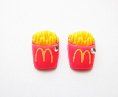 Resin Pink French Fries Crystal Stud Earrings