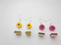 Fimo Kawaii Handmade Liquorice Allsorts Sweetie Inspired Earrings.