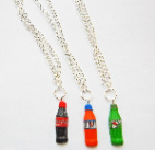 Fimo Soda Drink 7up, Irn Bru And Coke Bottle Necklace