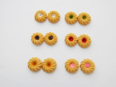Mini Jam Tart Biscuit Stud Earrings