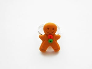 Retro Gingerbread Man Adjustable Ring