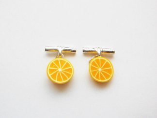 Kawaii Style Halve Slice Lemon Fruit Cufflinks