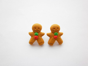 Gingerbread Man Biscuit Stud Earrings
