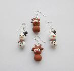 Zingy Mascot Christmas, Snowman, Reindeer Earring Pk Of 2 Set