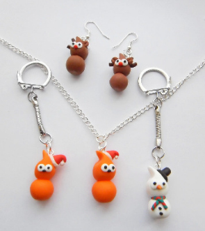 Zingy Festive Mix Earrings, Necklace And Keyring Gift Set