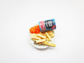 Miniature Chips And Baked Beans On A Plate Ring