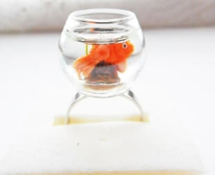 Golden Fish In A Glass Bowl Ring
