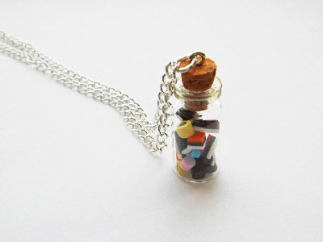 Liquorice Allsorts Miniature Glass Jar Necklace