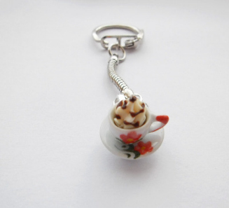 Novelty Chocolate Miniature Ice Cream Tea Keyring