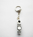 Kitsch Black And White Liquorice Allsorts Sweets Bead Keyring Charm