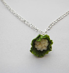Miniature Green Cauliflower Vegetable Necklace