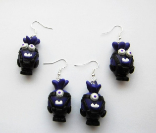 Purple Despicable Me Minion Silver Plated Earrings