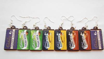 Milk Chocolate Bar Kawaii Plastic Dangle Earrings