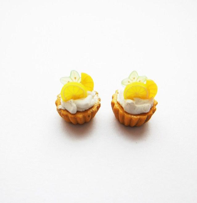 Lemon Slice Mini Tart Cupcake Stud Earrings