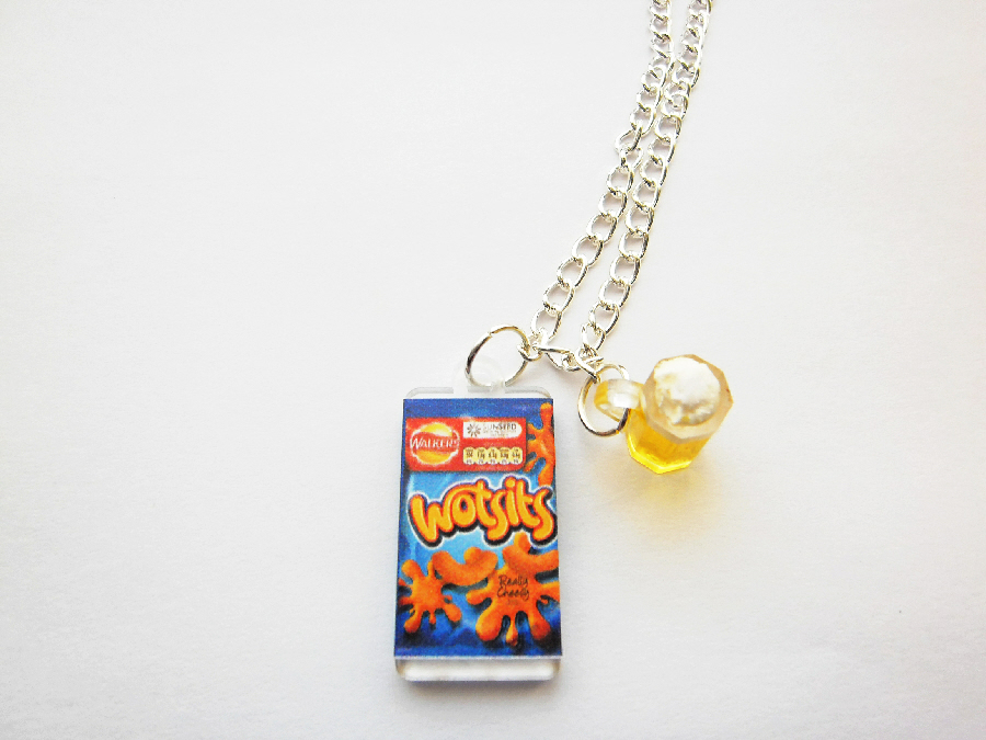 A Packet Of Crisp And A Glass Beer Necklace