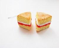 Victoria Sponge Cake Slice Earrings