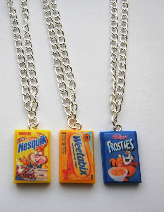 Cereal Box Silver Necklace