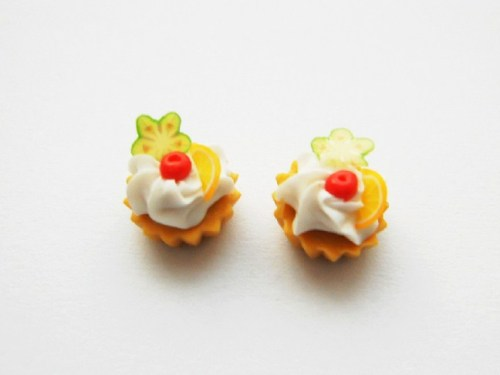 Cream Topped Mini Cup Cake Stud Earrings.