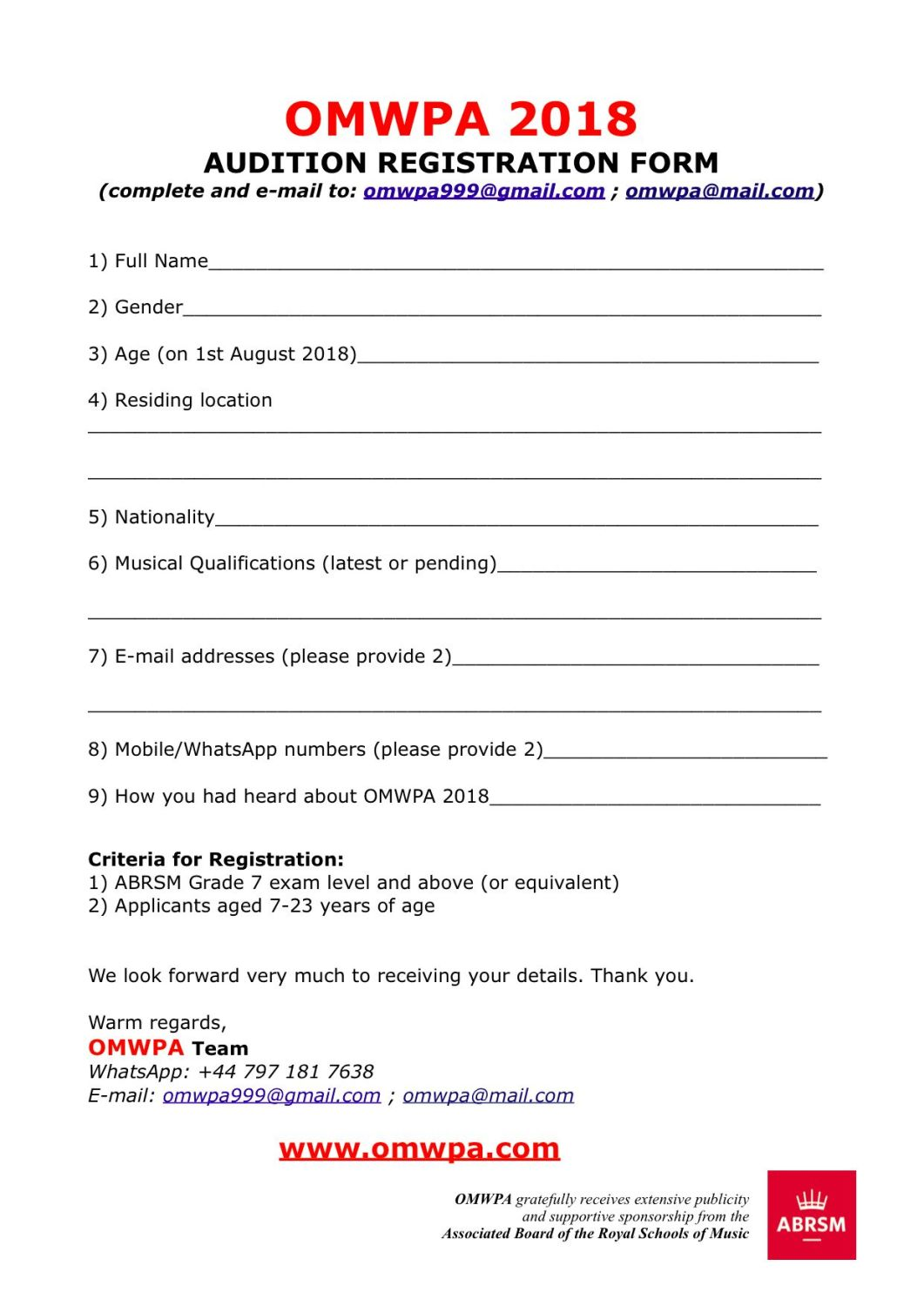 OMWPA 2018 - Audition Registration Form