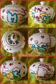 Cartoon style commission Milk and Sugar jug set