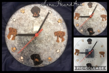 Pet portrait wall clock
