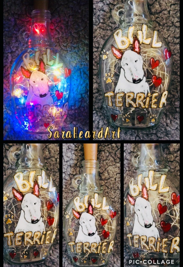 LED filled Hand Painted Bottles
