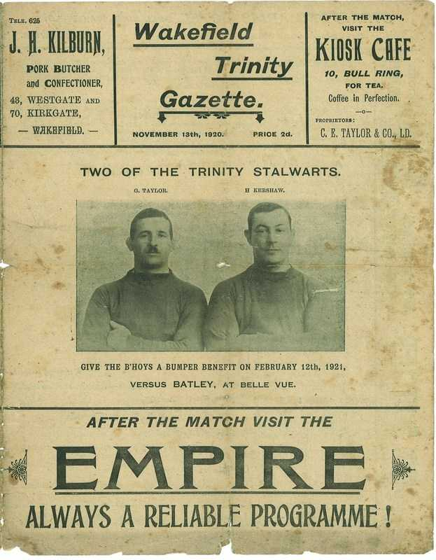 13 Nov 1920 Trinity v York front cover