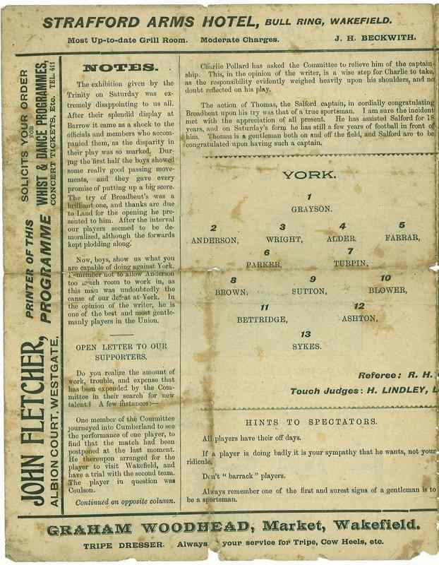 13 Nov 1920 Trinity v York centre page left