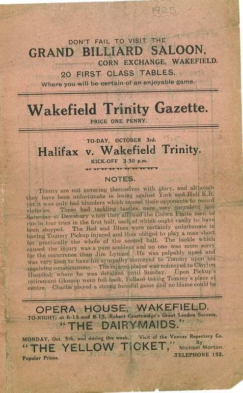 3rd Oct Trinity v Halifax front cover