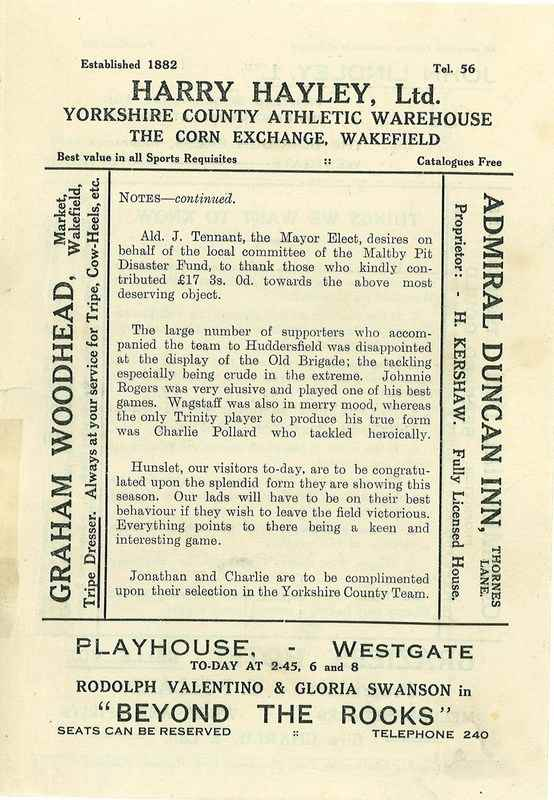 13 Oct 1923 Trinity v Hunslet centre page right